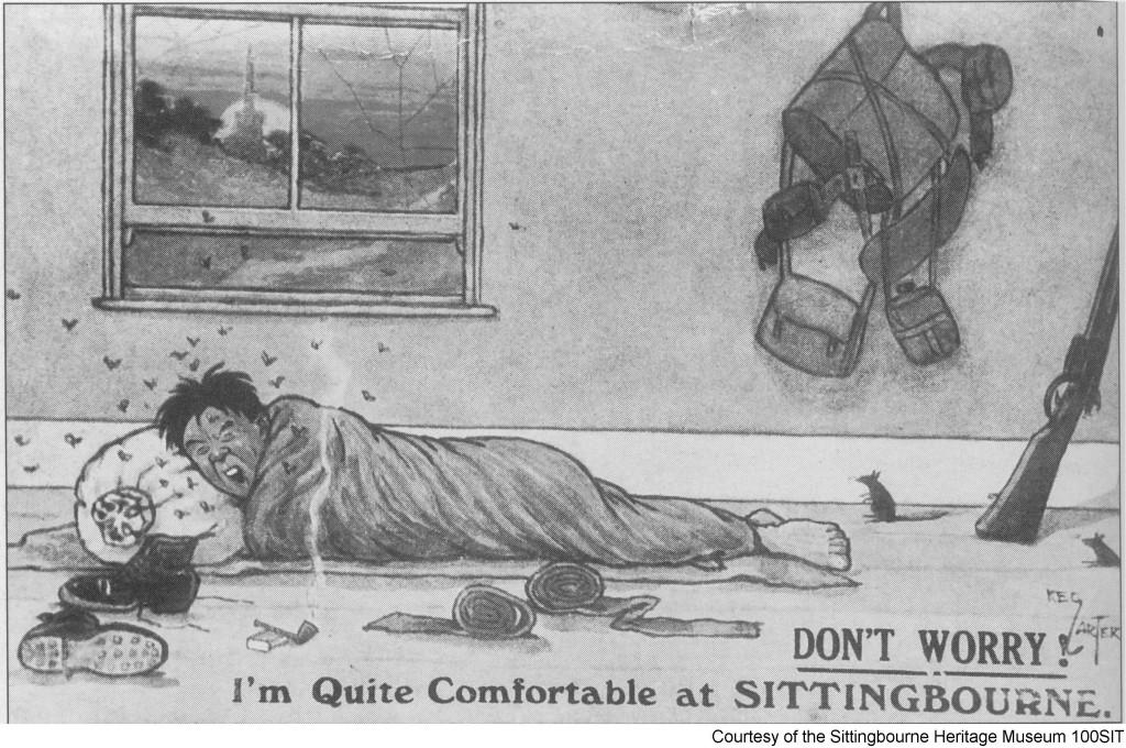 "100SIT - Postcard – ""Don't worry, I'm quite comfortable at SITTINGBOURNE"""
