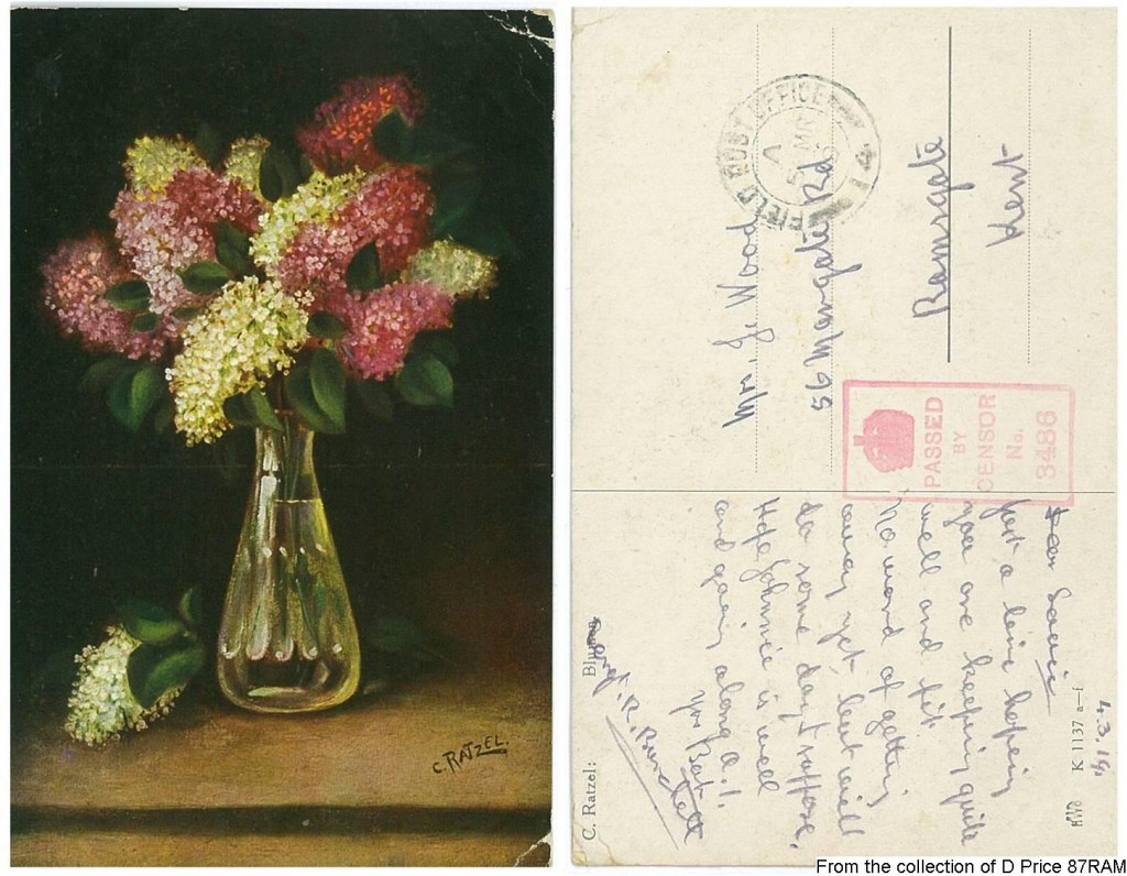 Sergt. R Burchett's Postcard (Front & Back)