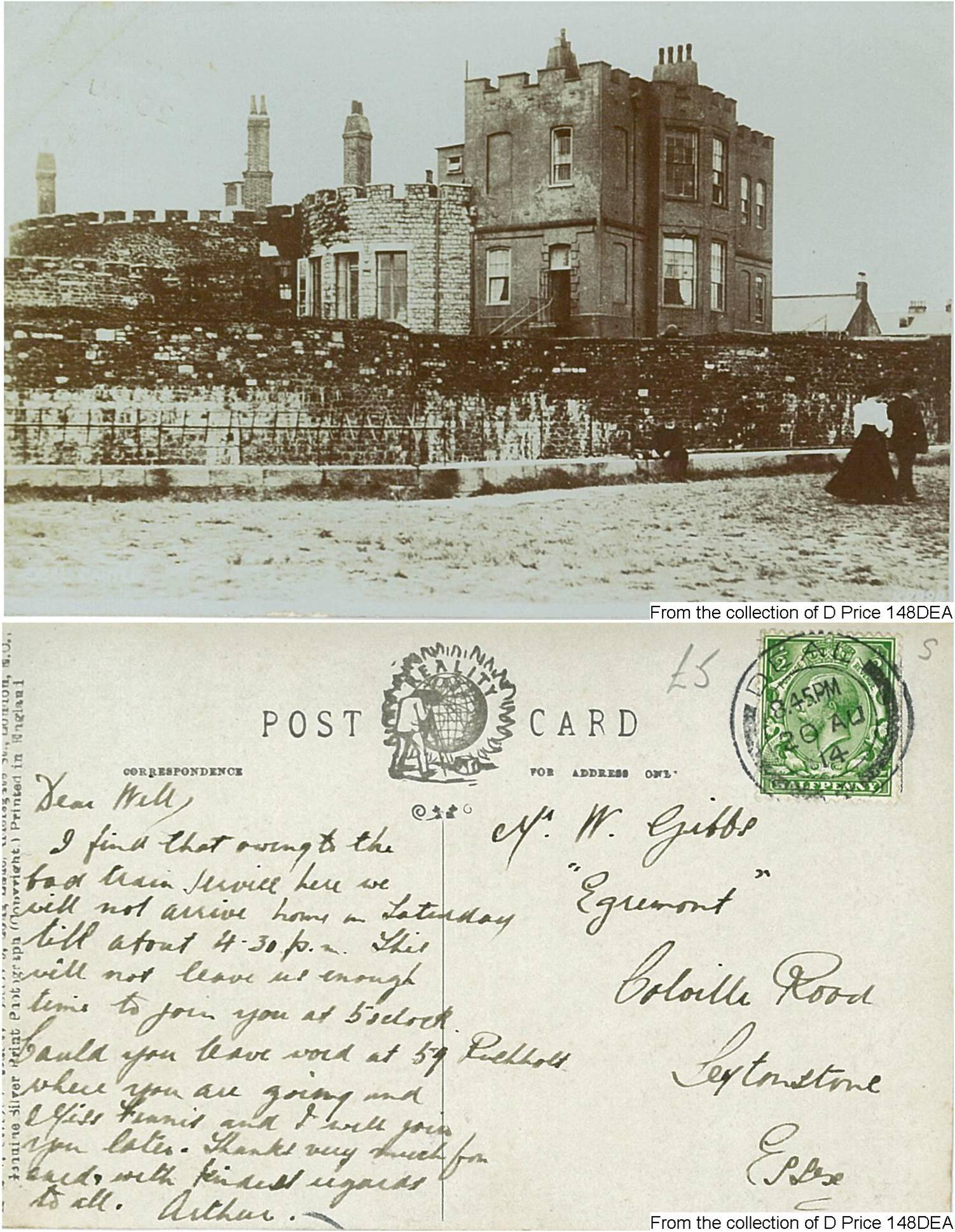 148DEA - Deal Castle (Postcard) (Front & Back)