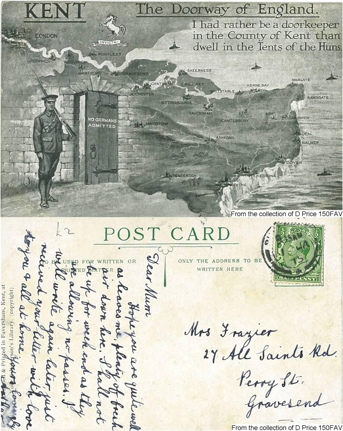 150FAV - The Doorway Of Kent (Postcard) (Front & Back)