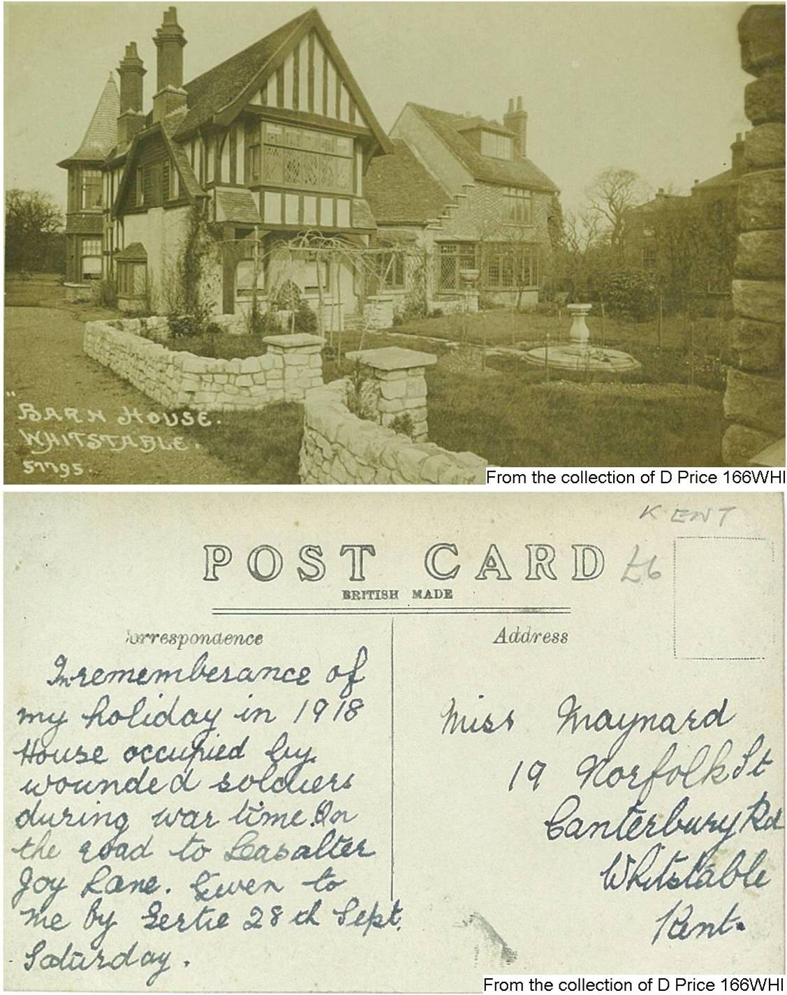 166WHI - Barn House (Postcard) (Front & Back)