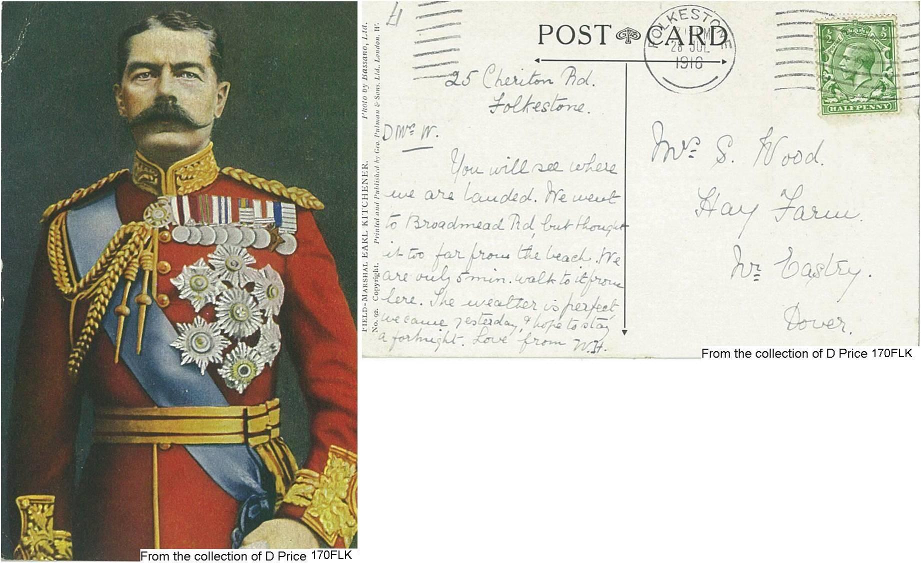 170FLK - Earl Kitchener (Postcard) (Front & Back)
