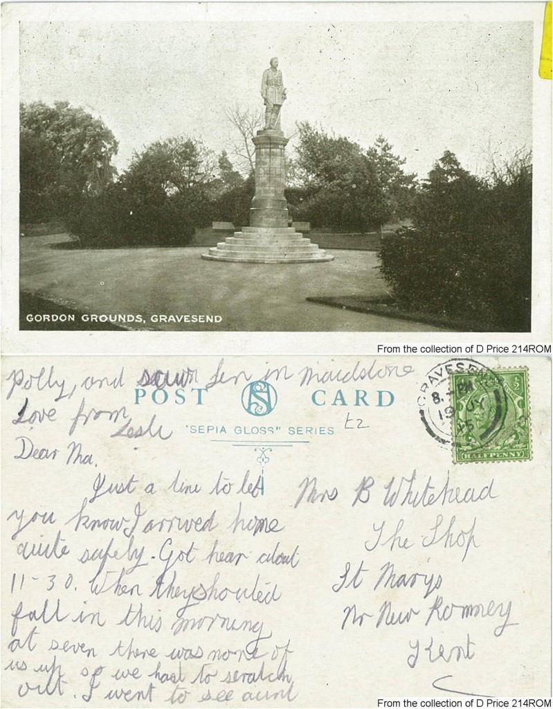 214ROM - A postcard sent from Les to his mother Mrs Whitehead 2015 (Front & Back)