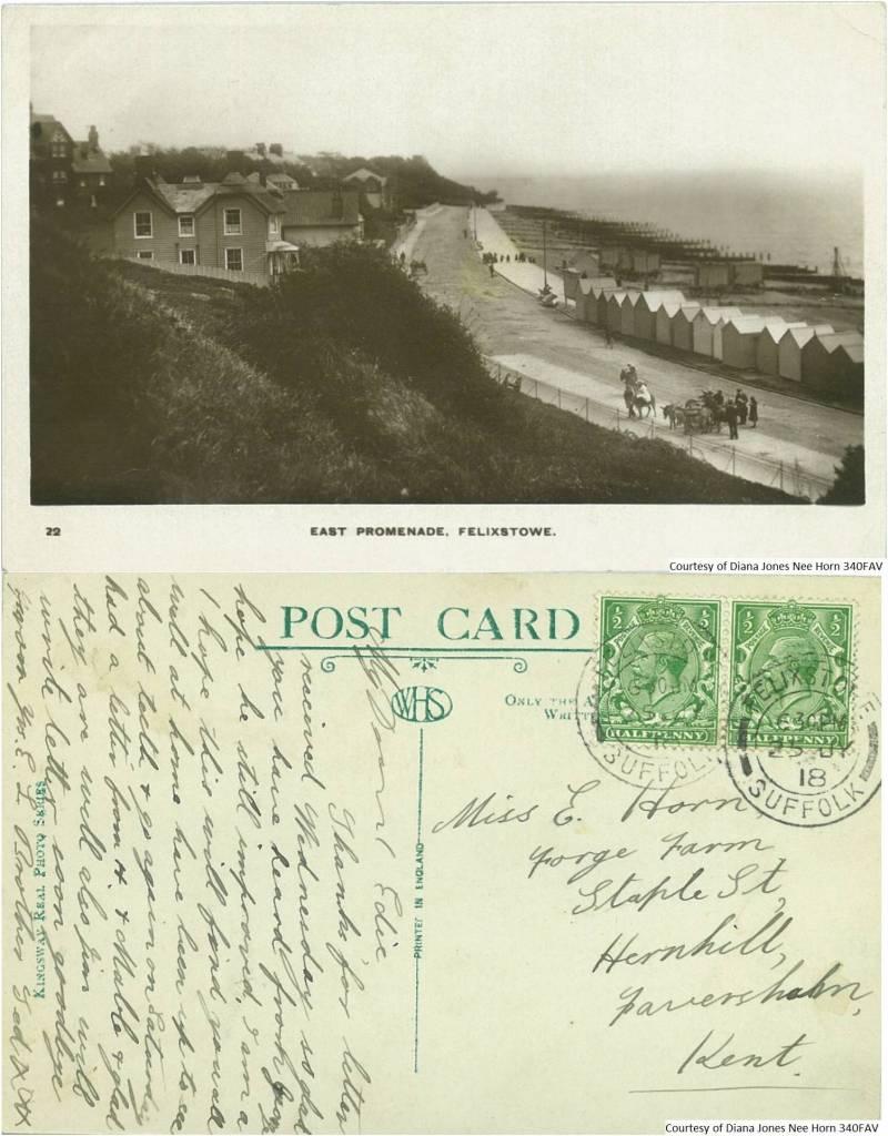 340FAV – East Promenade, Felixstowe (Front & Back)