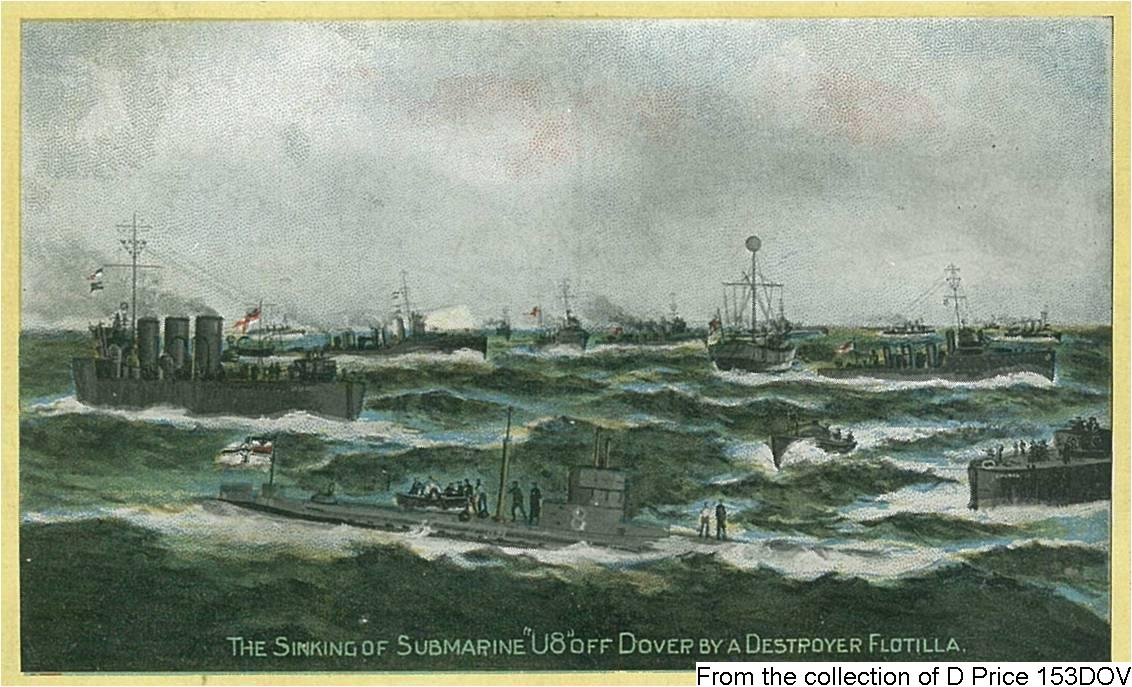 153DOV - The Sinking of Submarine U8 (Postcard) (Front)