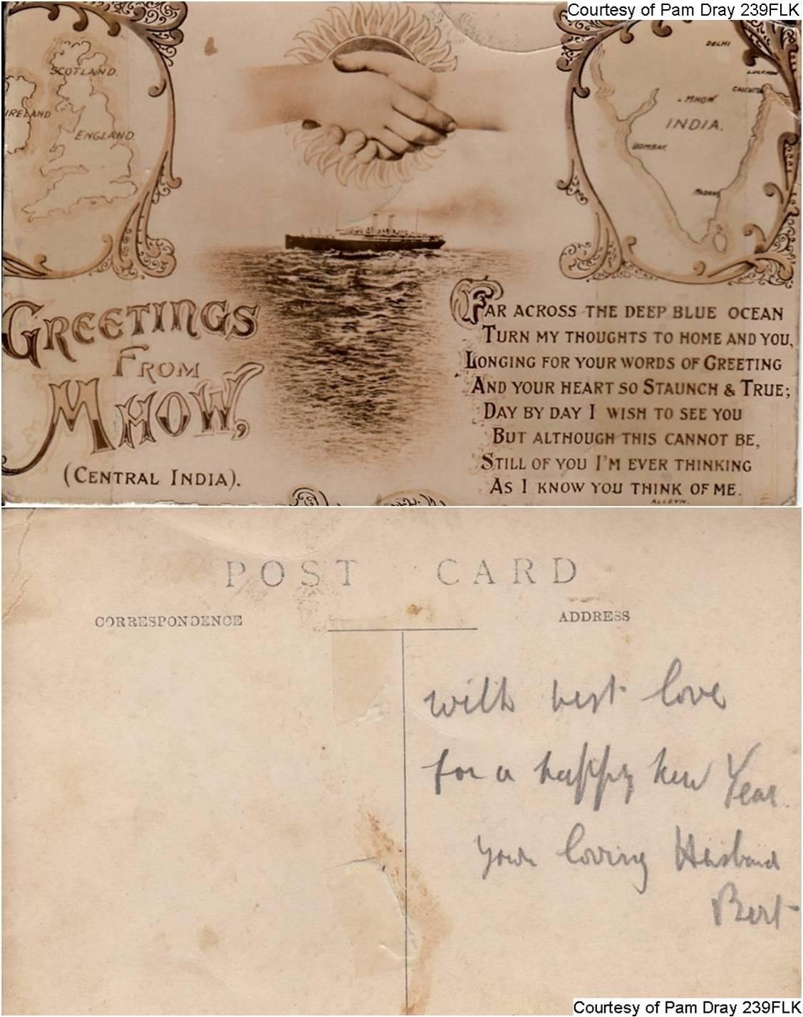 239FLK - Herbert's Postcard - Greetings From Mhow - (Front & Back)
