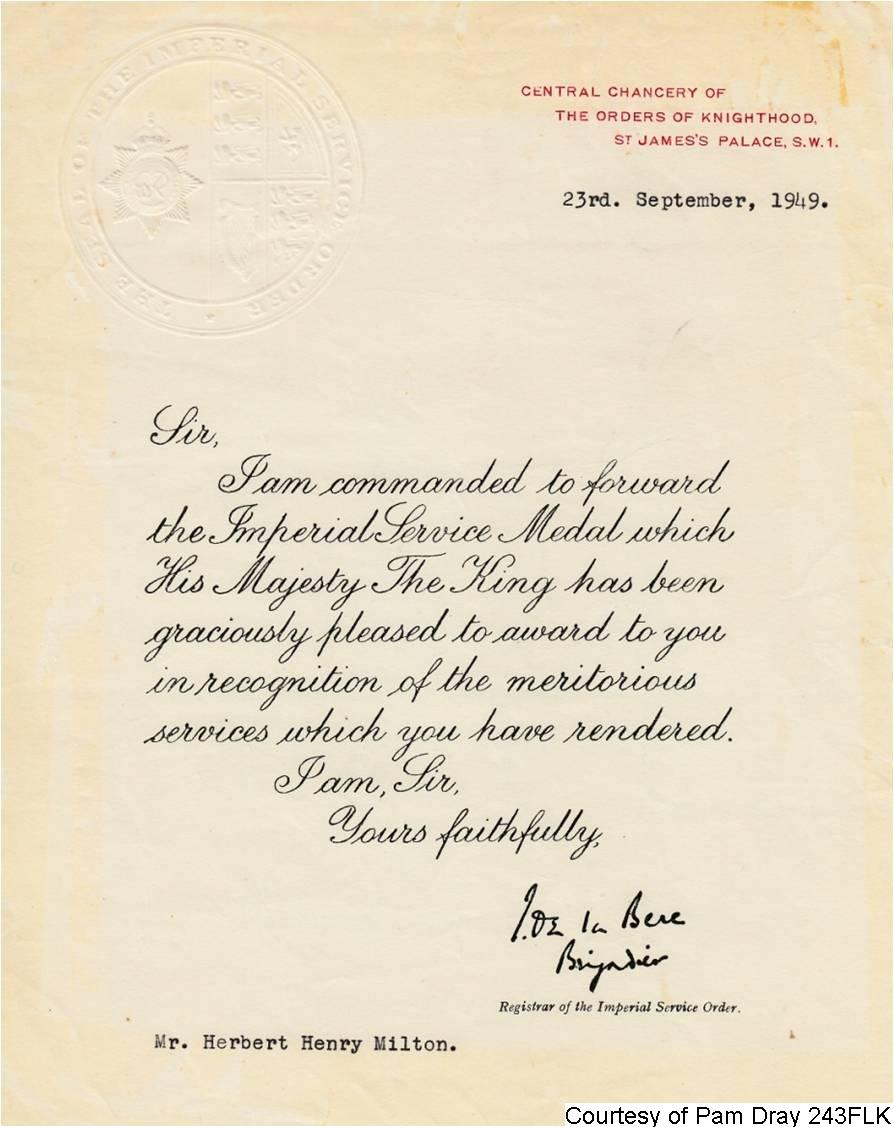 243FLK - Herbert's Post Office Retirement Letter