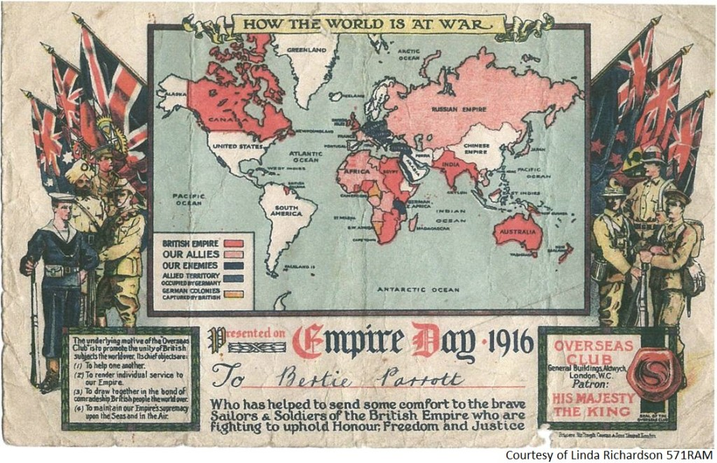 571RAM - A Certificate to Bertie Parrot - Empire Day