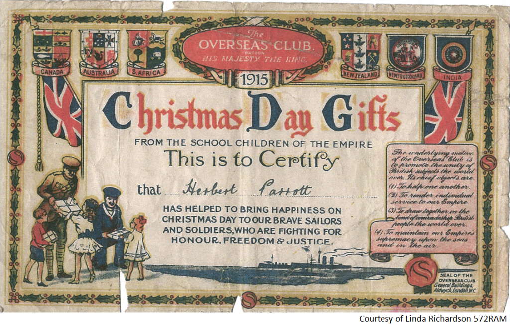 572RAM - A Certificate to Herbert Parrot - Christmas Day Gifts