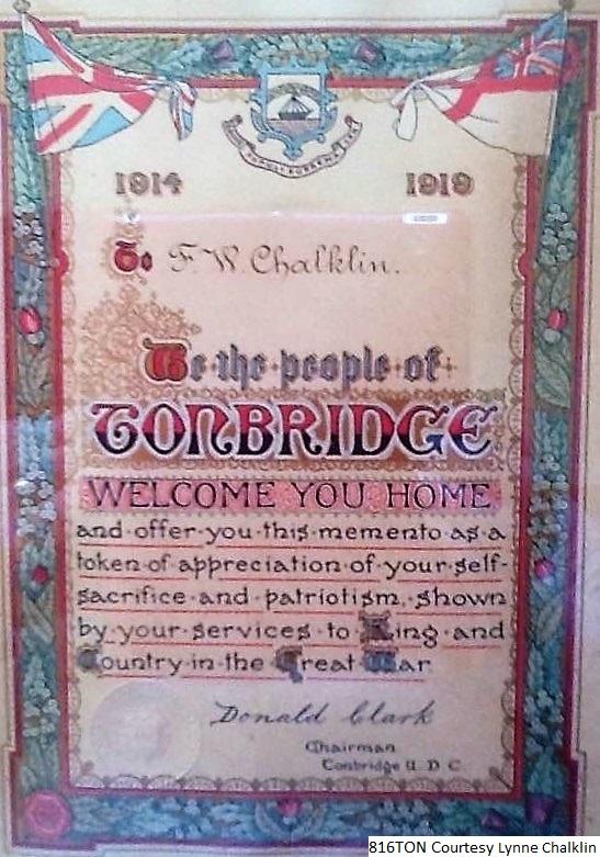 WW1 Certificate Lynne Chalklin