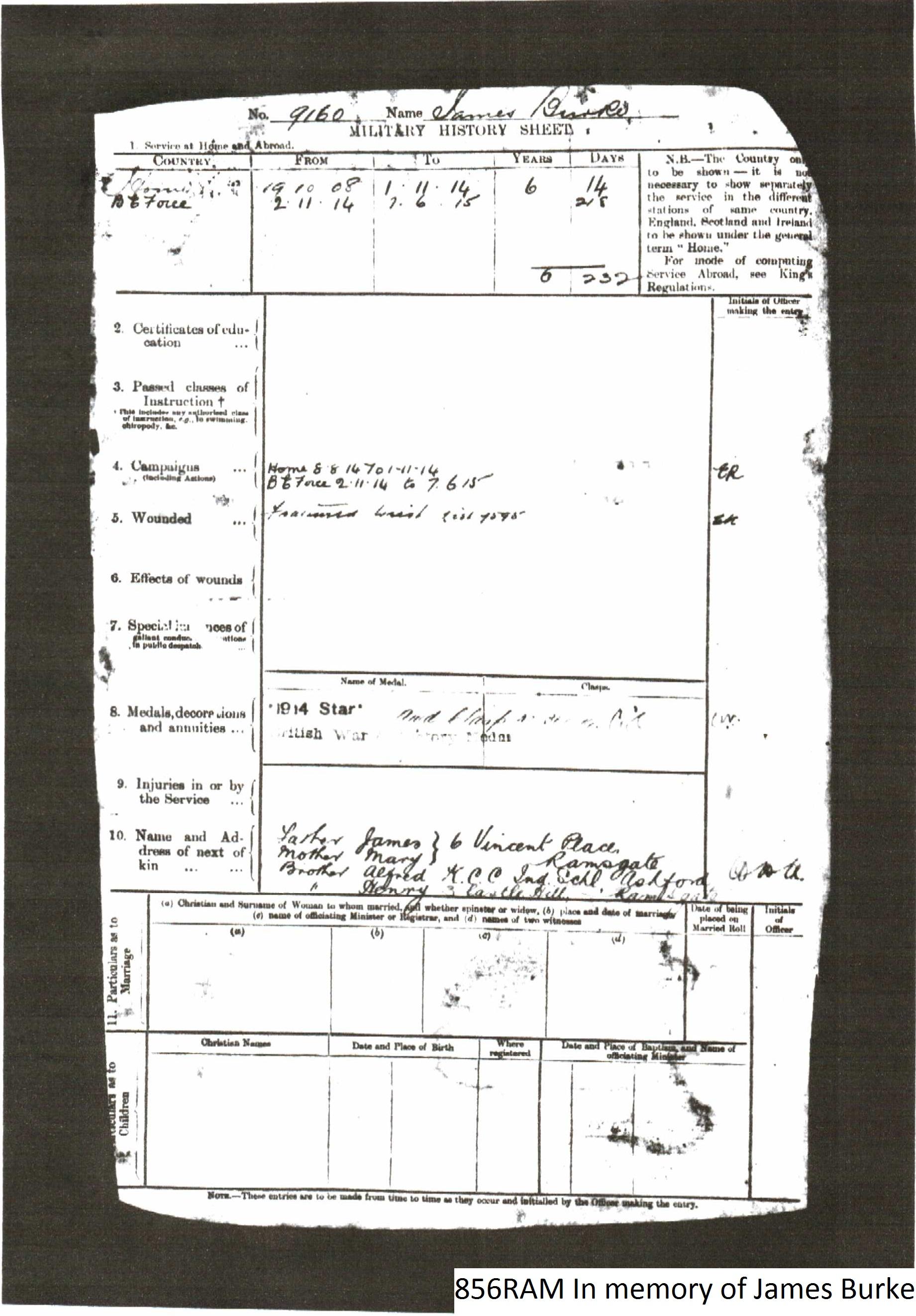 Military History Sheet