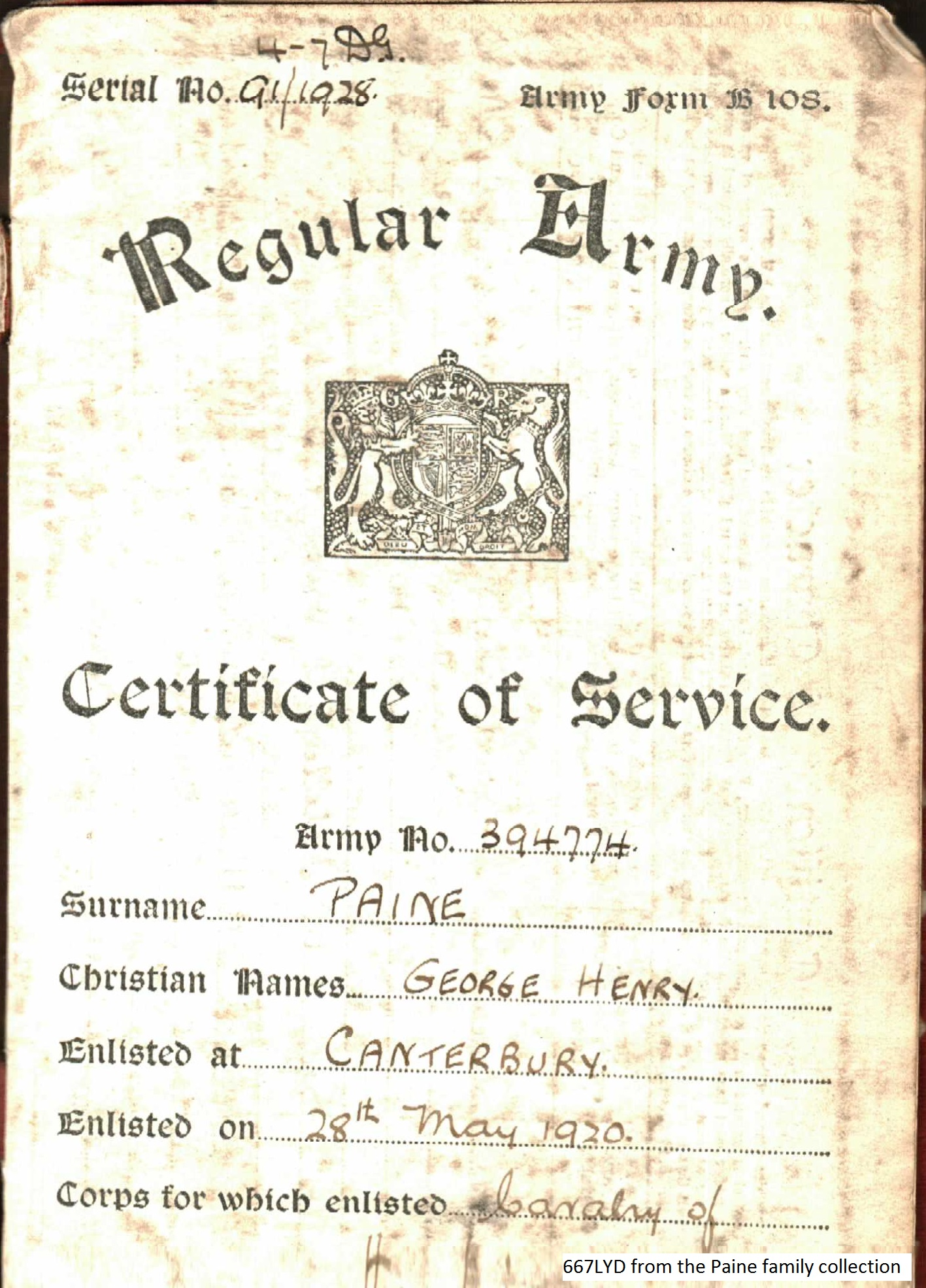 George Pain Service Certificate