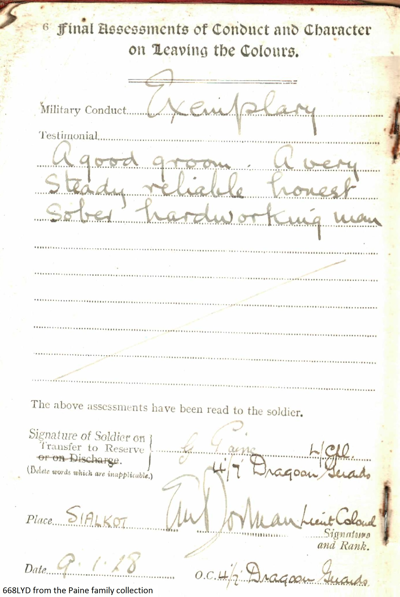 George Pain Service Certificate