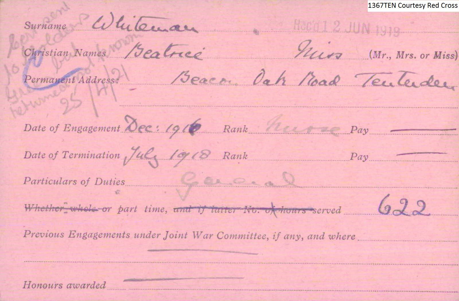 Miss Beatrice Whiteman