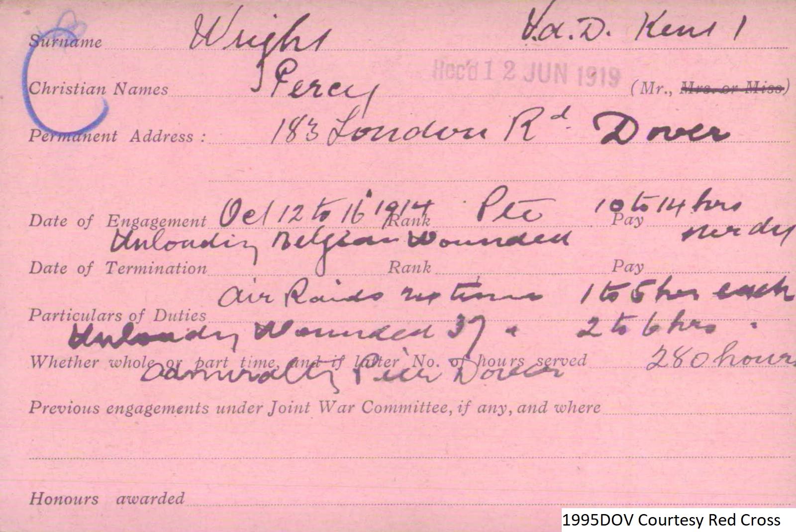 Percy Wright VAD Card