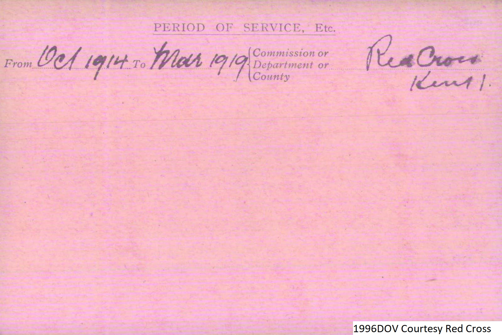 Percy Wright VAD Card