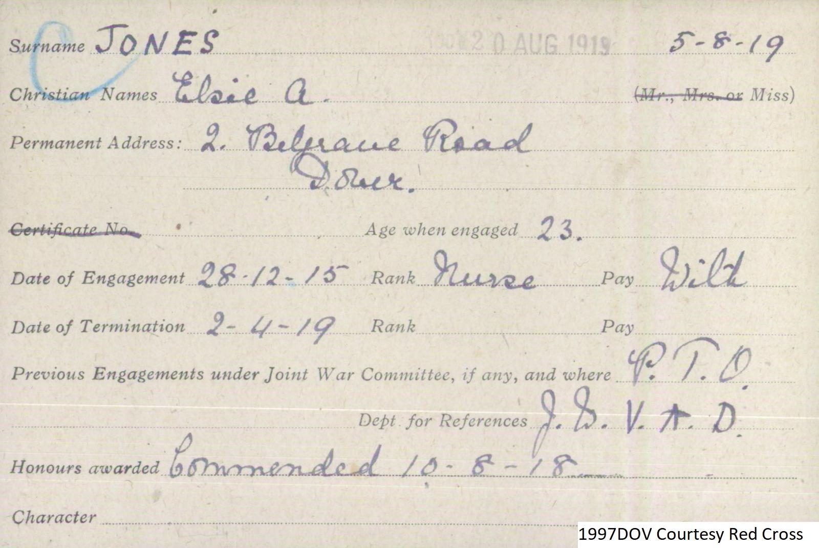 Elsie A Jones VAD Card