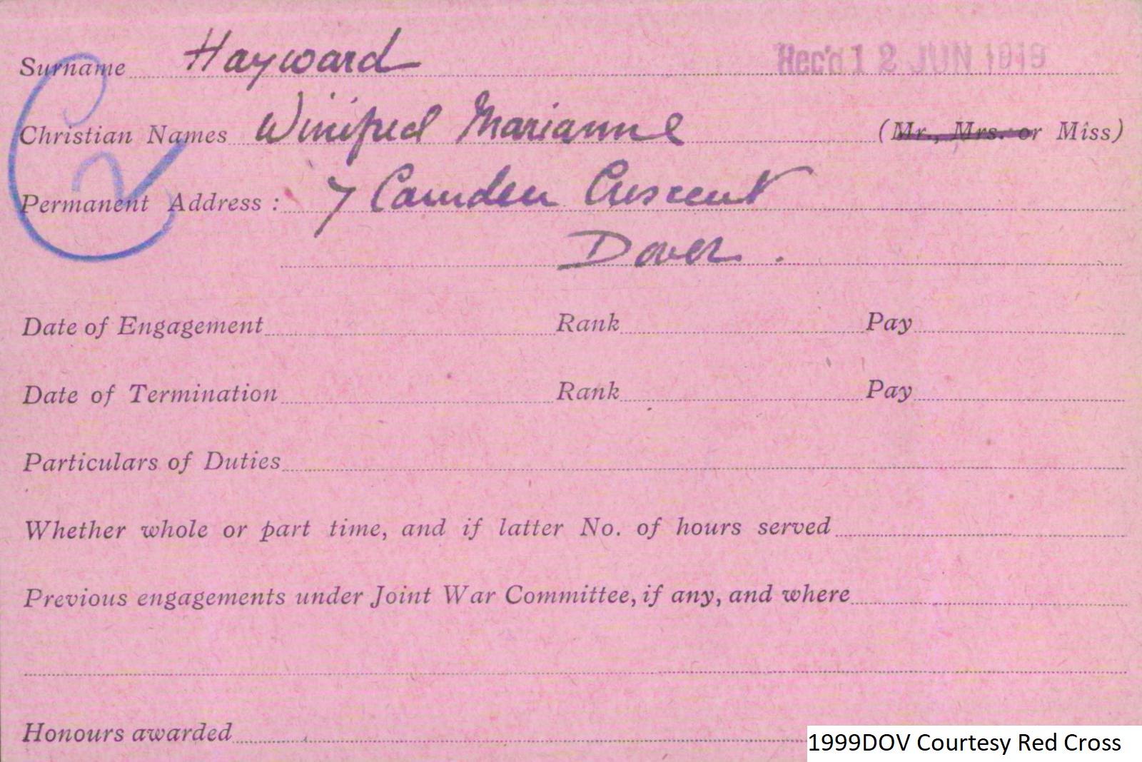 Winifred Hayward VAD